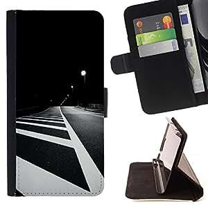 Momo Phone Case / Flip Funda de Cuero Case Cover - Líneas Blanco Negro Noche minimalista - Samsung Galaxy S6 EDGE