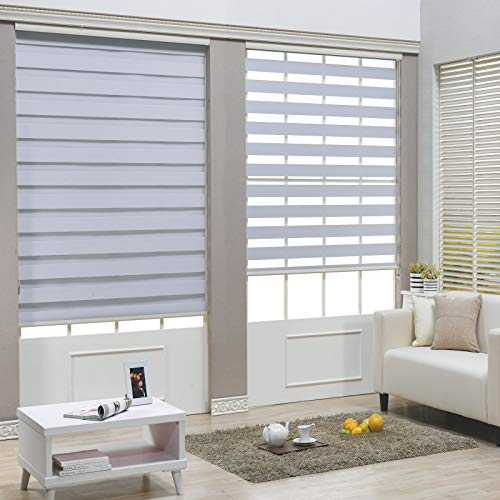 HTTMT- Zebra Roller Blinds [(W)32″ x (H)72″] White, Cordless, Dual Layer Shades, Sheer or Privacy Light Control, Day and Night Window Drapes, Easy to Install, Striped Dove [P/N: ET-ZB-W-32]