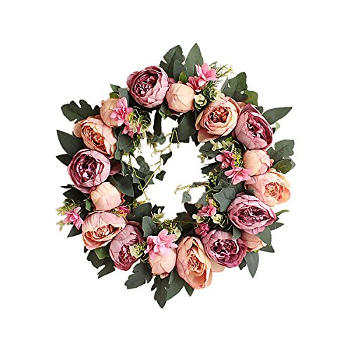 TianBao Door Wreath Brightens Front Door Decor for Wedding/Birthday/Living room Decoration Purple 1 Pcs (Peony Wreath Rose)