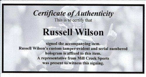 RUSSELL WILSON AUTOGRAPHED SEATTLE SEAHAWKS SPEED MINI HELMET IN GREEN RW HOLO STOCK #72371