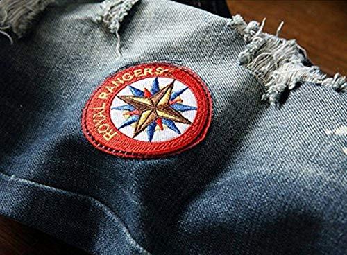 Trousers La De Straight Holes Hombres De Blau Ssig Men's Jeans Retro Moda Outdoor Insignia Skinny Wash Cher Pants Denim Los 5U64wW