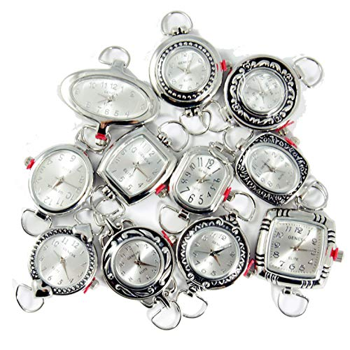 Mix Geneva Elite Watch Faces for Beading (5 PCs), Loops and Battery Included (Silver)