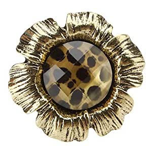 PPL - flores retro Cut Leopard piedrapreciosa-anillo