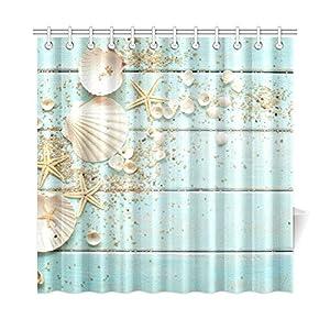 InterestPrint Seashell Home Decor Sand Starfish Blue Wooden Back