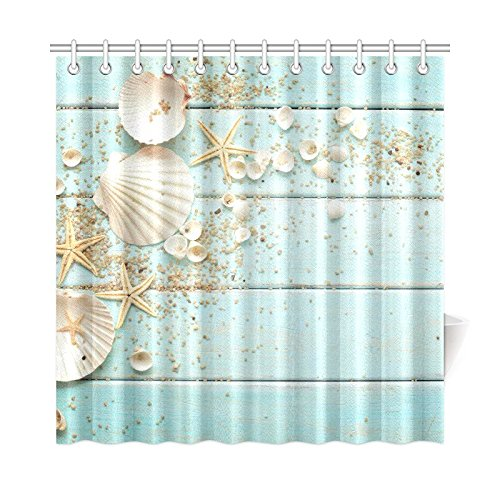 InterestPrint Seashell Home Decor, Sand Starfish Blue Wooden Back Polyester Fabric Shower Curtain Bathroom Sets 72 X 72 Inches