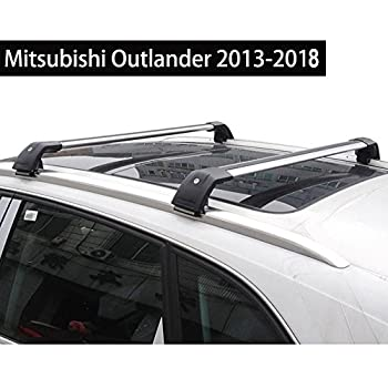 KPGDG Fit for Mitsubishi Outlander 2013-2018 Lockable Baggage Luggage Racks Roof Racks Rail Cross Bar Crossbar - Silver