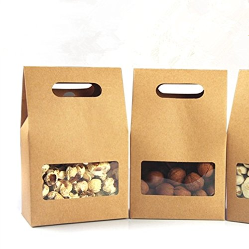 Chocolate Brown Gift Boxes - 20 Pcs / Lot 10.5 x 15 + 6 cm Brown Kraft Paper Folding Carton Box With Square Window Screen Gift Craft Package Candy Chocolate Snack Packaging Box For Wedding Party