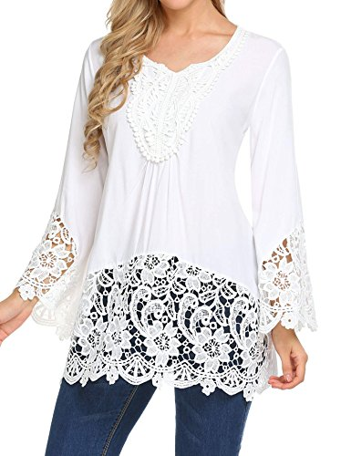 2 Longues Blanc Manches Femme Top CHIGANT awXBxE47q