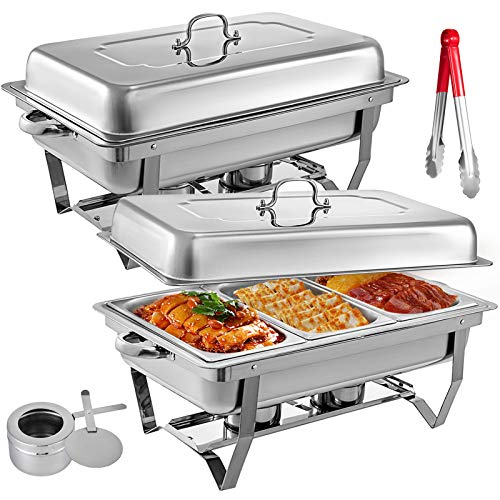 Mophorn 2 Packs Stainless Steel Chafing Dishes 3 1/3rd Size Pans 8 Quart Rectangular Chafer Complete Set Chafing Dishes Food Pans