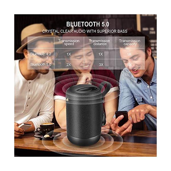 Enceinte Bluetooth Portable, 20W Enceinte Bluetooth Waterproof Haut-Parleur sans Fil, Pilote Double, Son 360° Basses Puissantes, Carte TF Support, Autonomie de 12 Heures pour Camping l'extérieur 4