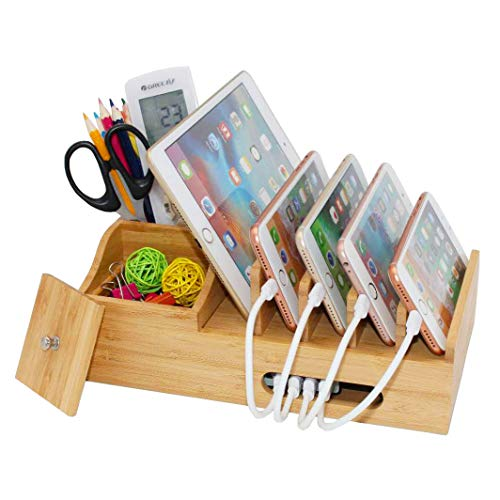 (Bamboo Charging Station for Multiple Devices, Multi Use Wood Docking Station with Storage Box, Desktop Holder Organizer Compatible Devices, Phones, Tablets and Stationery (Hub, Cables Not Included))