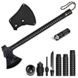 LIANTRAL Camping Stainless Axe with Sheath 18 inch Multitool Tactical Hatchet Hammer and Flashlight for Camping Hiking Hunting Backpacking Emergency Outdoor adventures Survival Hatchet Portable Foldin