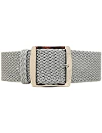 DaLuca Braided Nylon Perlon Watch Strap - Grey (Polished Buckle) : 22mm