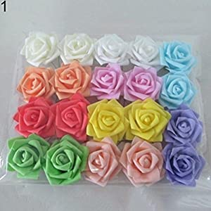50Pcs Fake Foam Roses Artificial Flowers Wedding DIY Bridal Bouquet Party Decor Ameesi 25