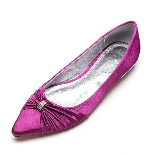 Heels Dedo Zapatos Mujeres de YC de de Las Zapatos Jane de Boda del Gran Cerrado Satin la Corte L Purple Fiesta Low pie tamaño qPZnvwUd