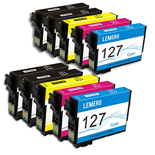 LEMERO Remanufactured for Epson 127 T127 Ink Cartridges - for Epson WorkForce 545 845 630 645 840 633 635 WF-3520 WF-3540, 10 Pack by Lemero