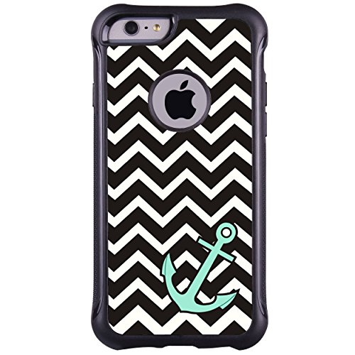 iPhone 6 6s Plus 5.5 Case, True Color Teal Anchor on Chevron Emboss Printed Impact Resistant TPU Protective Anti-slip Grip Snap-On Soft Rugged Cover for iPhone 6 Plus +FREE Stylus & Screen Protector