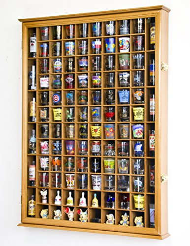 108 Shot Glass Shooter Display Case Holder Cabinet Wall Rack w/ UV Protection -Oak