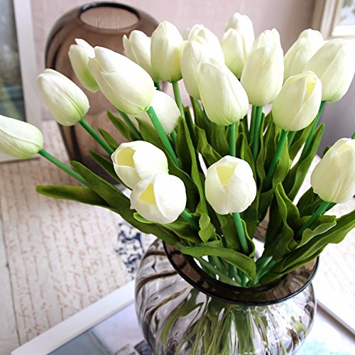 Supla 20 heads Artificial Flowers Real Touch Tulips in White Wedding Bouquets Flowers Fake Tulips PU Tulips Flowers Arrangement Bouquet Home Room Centerpiece Party Wedding Decor (vase not included) (Tulip Centerpiece)
