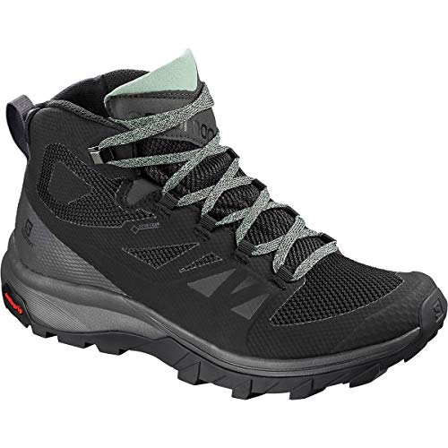 Salomon Women's Outline Mid GTX W Hiking Shoe, Black/Magnet/Green Milieu