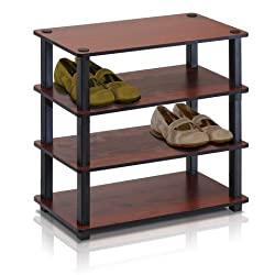 11. Furinno 13081DC/BK Turn-S-Tube 4-Tier Shoe Rack