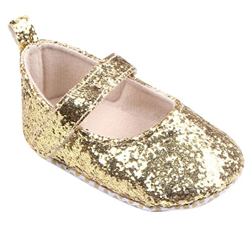 Lanhui Toddler Girl Soft Sole Crib Shoes Sequins Sneaker Baby Child Fashion Dance Princess Single Casual Sandals Size (6-12Months, Gold) ()