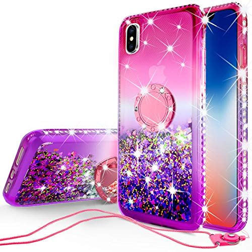 [GW USA] Glitter Phone Case Kickstand Compatible for Apple iPhone Xr 2018 Case,Ring Stand Liquid Floating Quicksand Bling Sparkle Cute Protective (Hot Pink)