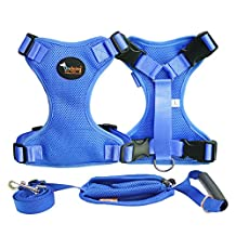 Dog Puppy Harness Leash Adjustable Soft Easy Walk for Puppies, Small Dogs ,2 Pieces X-Large Blue