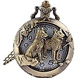 ERAWAN Vintage Bronze Hollow Dog Theme Pocket Watch Quartz Chain Necklace Pendant Gift EW sakcharn