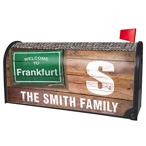 NEONBLOND Custom Mailbox Cover Green Road Sign Welcome to Frankfurt