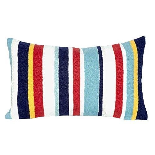 Liora Manne 7S01SA39144 Mystic III Nautical Stripe Multi Indoor/Outdoor Pillow