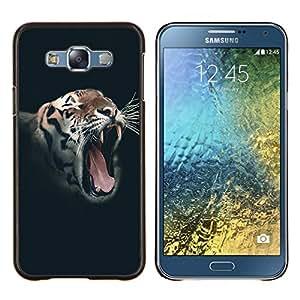 LECELL--Funda protectora / Cubierta / Piel For Samsung Galaxy E7 E700 -- Rugido del tigre salvaje Vignette animales Rayas --