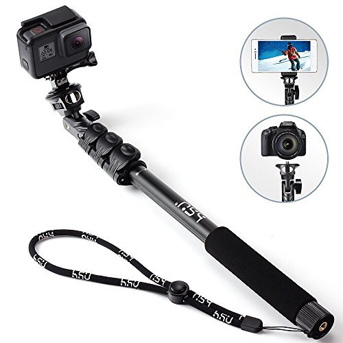 HSU Monopod Selfie Stick for GoPro/GoPro Hero(2018), Smartphone, Camera - Lightweight Rugged Waterproof Extension Pole 16.14-47.64 Inch. - Tripod Mount ()
