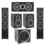 Elac 5.1 System with 2 Debut F5 Floorstanding Speakers, 1 Debut C5 Center Speaker, 2 Debut B5 Bookshelf Speakers, 1 Debut S12EQ Subwoofer