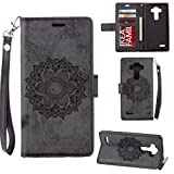 AllDo LG G3 Case Flower Pattern Skin PU Leather Shell Flip Wallet Cover with Card Slots and Magnetic Clasp Soft Flexible Case Stand Function Shell Thin Lightweight Cover Anti-shock Dust-proof Skin - Black