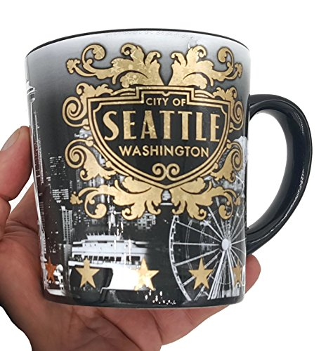 (26 7/18) SM Seattle Coffee Mug Black White With Gold Accents 15 OZ ! Includes Copyrighted Seattle Magnet