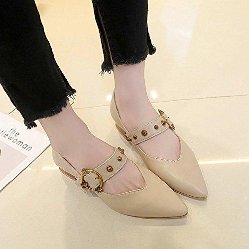 Xue Qiqi Solo zapatos Zapatos dama salvaje femenino alumnas en luz de Baotou zapatos con punta de base plana,37, beige
