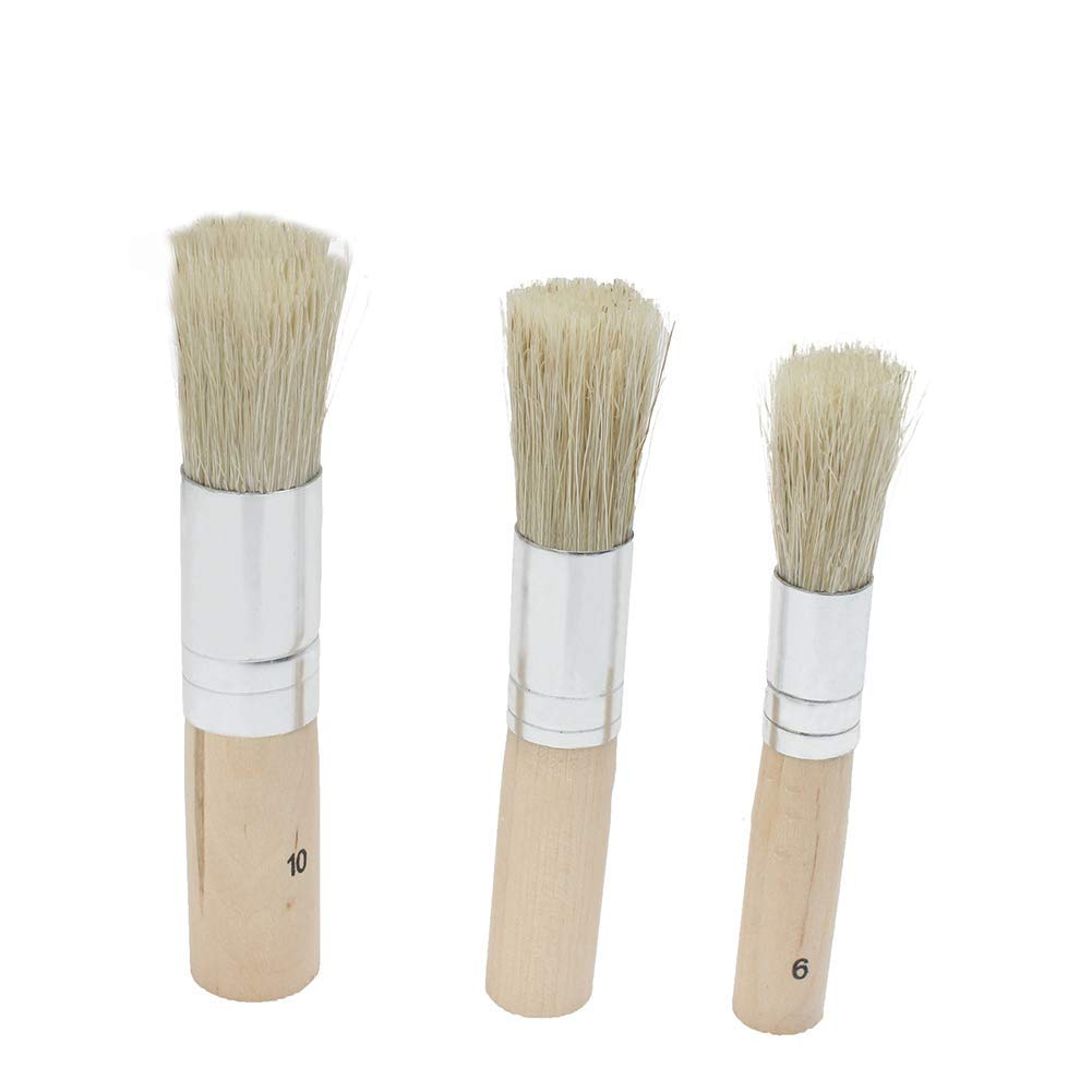 3 Pcs Chalk Paint Wax Brush Set - Natural Bristle Round Paint Brushes 20mm 30mm 50mm The Best Tool for Furniture, Home Decor, Waxing, Glazing Pottery Durable and Useful