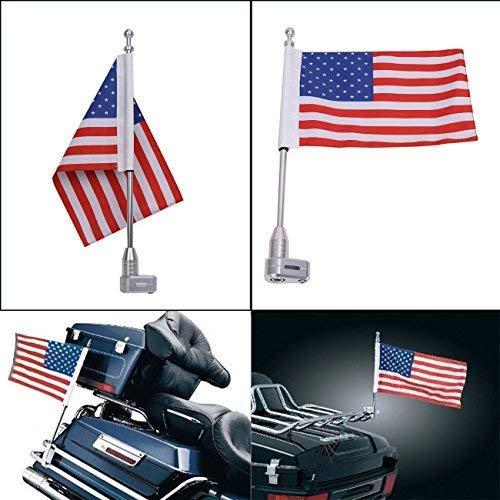 (Motorcycle American Flag Pole CNC Aluminum Vertical Flagpole Mount Kit Luggage Rack For Honda Goldwing GL1800 GL1500 2001-2012)