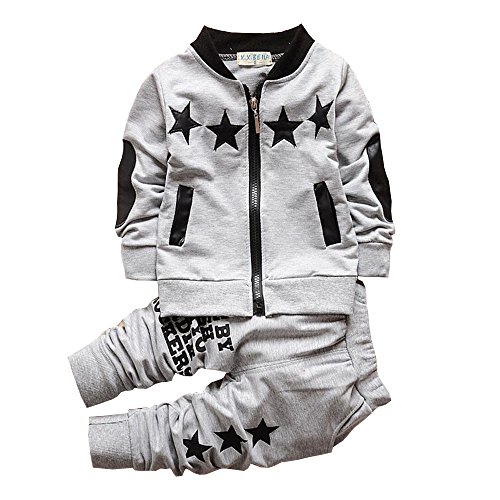 BibiCola Baby boy Clothes Toddler Boys Outfits Suit Bebe Star Clothing Set Cotton Long Sleeve T-shirt+Pants (2T, (Star Outfit)