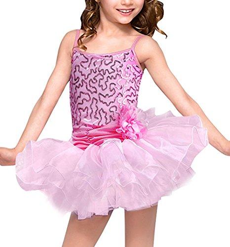 Rosa 10 Costumi Tutu Canotta Glitter Danza Tutù Balletto Dress Sequined Ballet Di Obeeii Ragazze 2 Senza Maniche Anni Body Dance OHTTqw