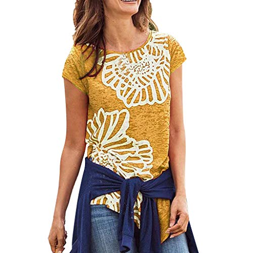 LIM&Shop Women Summer Short Sleeve T-Shirt Floral Print Shirt Plus Size Loose Blouse Crew Neck Tee Comfy Tunic Top Yellow