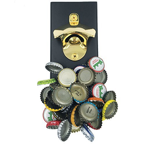 Gold Beer Bottle Opener w/Zinc Alloy & Strong Magnetic Cap Catcher | Refrigerator Mountable | Ideal for Parties | Great Gift