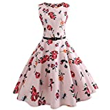 Dressffe Audrey Hepburn Dresses for Women, Rose Floral Vintage Pleated Sleeveless Summer Dress with Sashes, Casual Evening Party Prom Swing Dress (2XL)