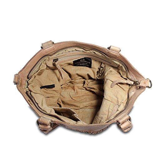 Desiderius - Bolso de asas de Piel Lisa para mujer beige beige