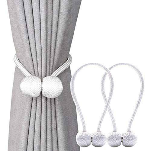 DEZENE Magnetic Curtain Tiebacks,The Most Convenient Drape Tie Backs,2 Pack Decorative Rope Holdback Holder for Big,Wide or Thick Window Drapries,16 Inch Long,White