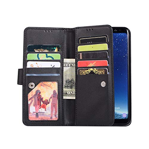 Shinyzone Glitter PU Case for Samsung Galaxy S8,Wallet Leather Flip Case with Zipper Pocket,Bling Cover with 9 Card Holder and Wrist Strap Magnetic Stand Function,Black by Shinyzone (Image #4)