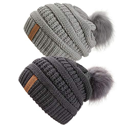 QUEENFUR Women Knit Slouchy Beanie Chunky Baggy Hat with Faux Fur Pompom Winter Soft Warm Ski Cap (2 Pcs Dark Grey/Soft Grey)