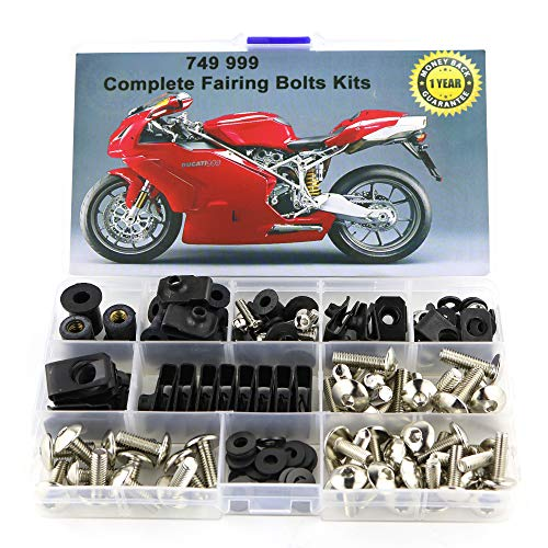 - Xitomer Full Sets Fairing Bolts Kits, for DUCATI 749 999 2003-2006, Mounting Kits Washers/Nuts/Fastenings/Clips/Grommets (silver)