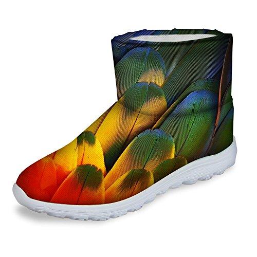Voor U Ontwerpt Fashion Dames Winter Warm Slip Op Platte Hak Korte Snowboots Waterdicht Schoeisel Groen Geel